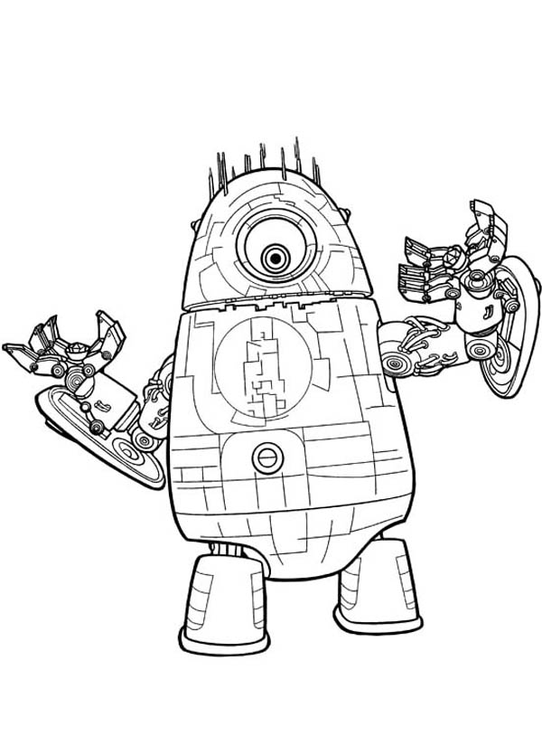 Monsters vs Aliens, : The Aliens Robots in Monster vs Aliens Coloring Page
