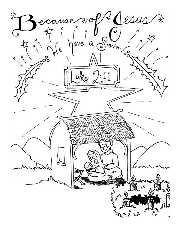 Nativity, : The Born of Saviour in Nativity Coloring Page