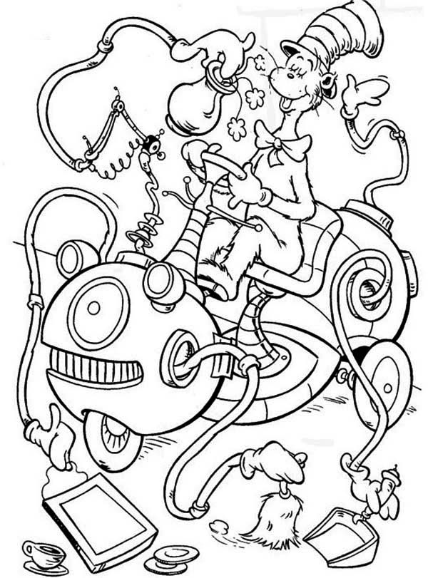 The Cat in the Hat, : The Cat in the Hat Cleaning Machine Coloring Page