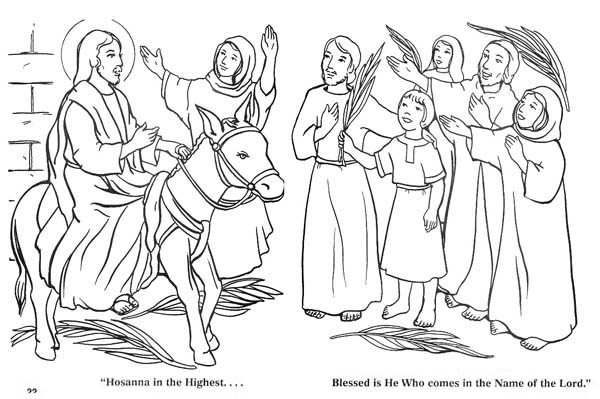 The Coming of Zions King in Palm Sunday Coloring Page Color Luna