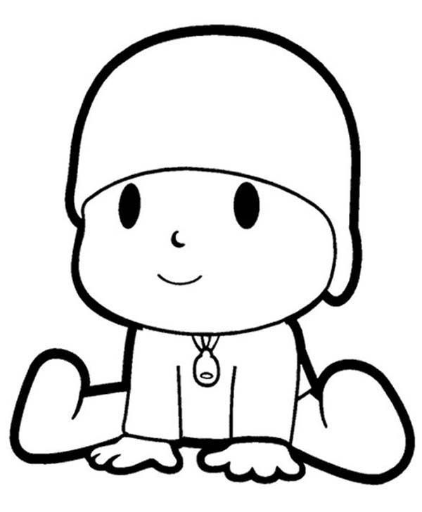 Pocoyo, : The Curious Pocoyo Coloring Page