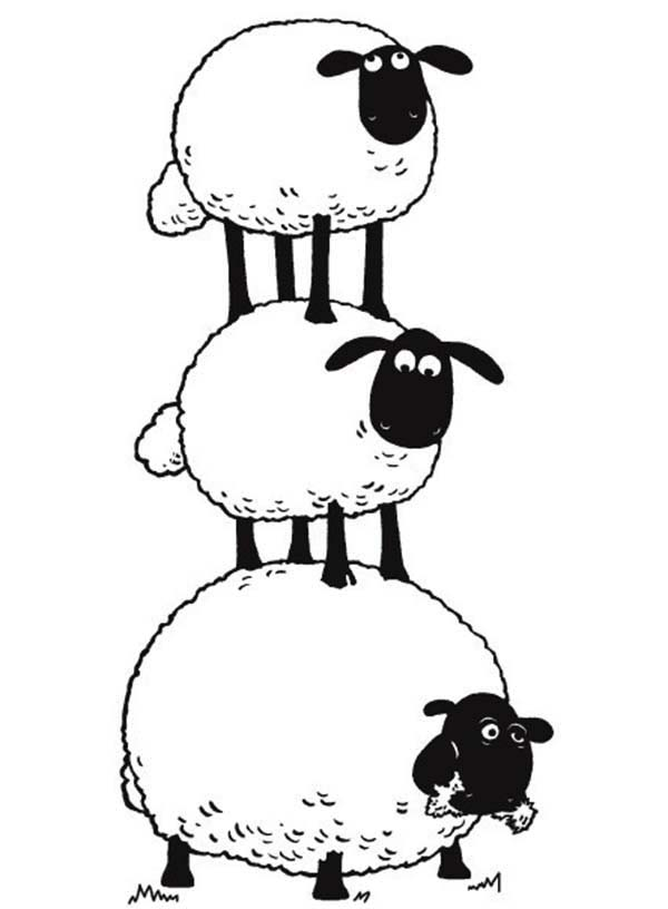 The Flock Make Sheep Stack in Shaun the Sheep Coloring Page | Color Luna