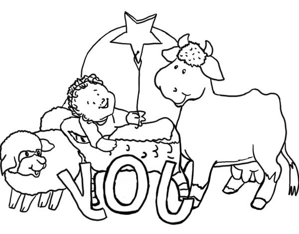 Nativity, : The Gospel Story Nativity of Jesus Coloring Page
