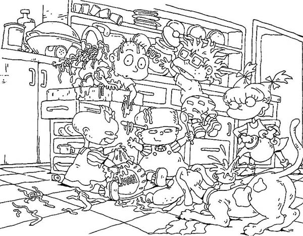 Rugrats The Make A Mess In Kitchen Coloring Page