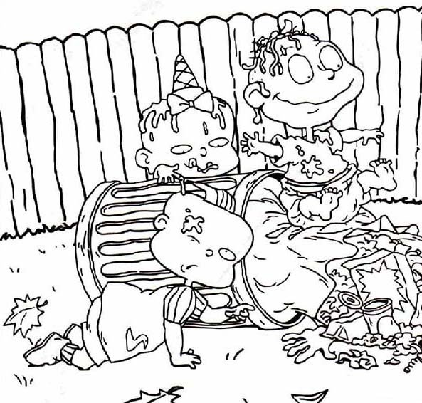 Rugrats, : The Rugrats is Dirty They Play in Garbage Can Coloring Page