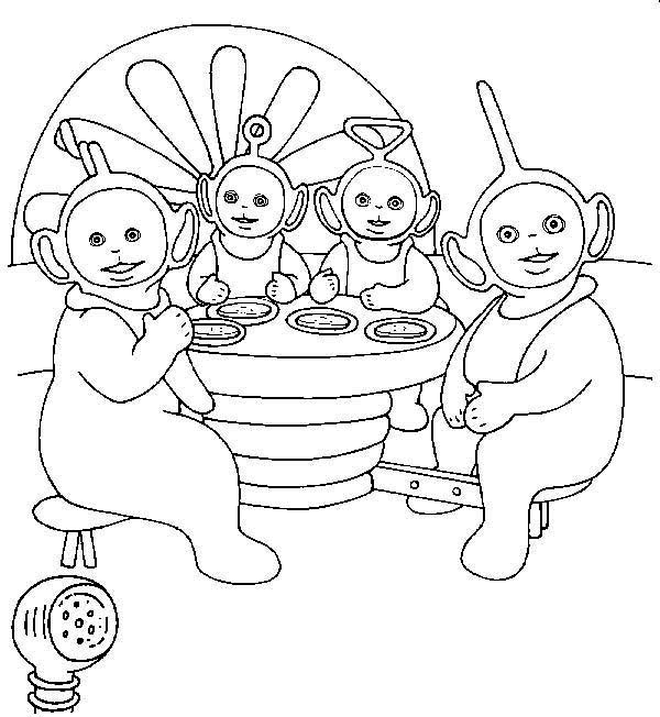 Teletubbies Coloring Book Kids Fun Com: The Teletubbies Eat Together Coloring Page: The