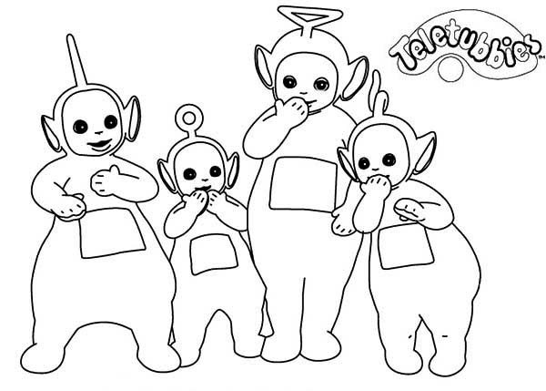 Teletubbies, : The Teletubbies Giggling Coloring Page
