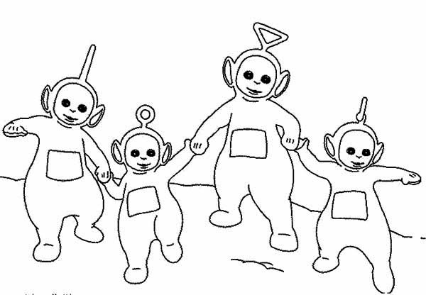 Teletubbies, : The Teletubbies Walking Around Together Coloring Page
