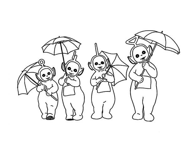 The Teletubbies and Their Umbrella Coloring Page Color Luna