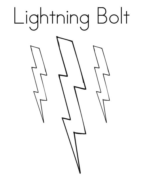 Lightning Bolt, : Three Lighting Bolt Coloring Page