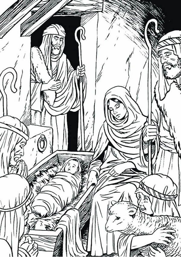 Nativity Three Wise Man In Coloring Page