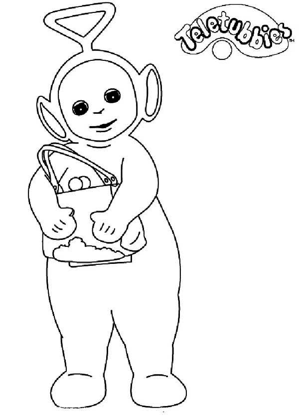 Tinky Winky Want to Shopping in Teletubbies Coloring Page | Color Luna
