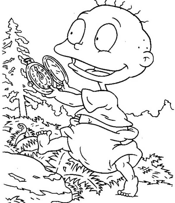 Tommy Play with His New Pocket Watch in Rugrats Coloring Page ...