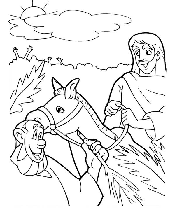 Palm Sunday, : Triumphal Entry of Jesus to Jerusalem in Palm Sunday Coloring Page