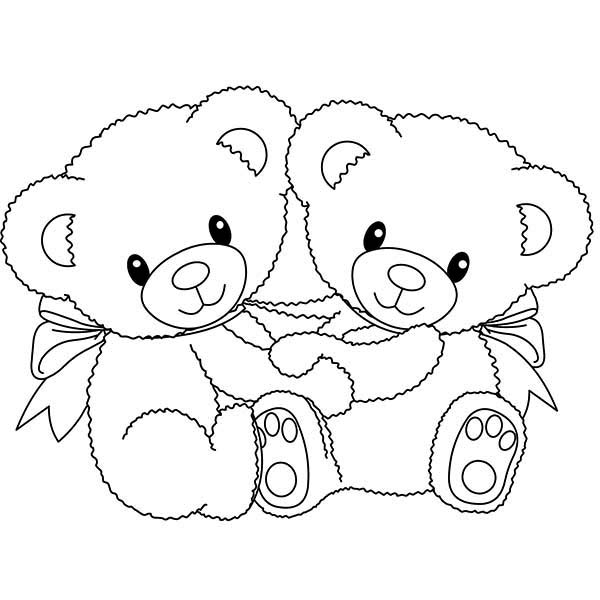 Two little teddy bear coloring page