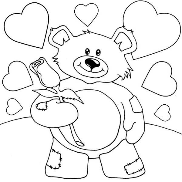 Valentine teddy bear holding rose coloring page