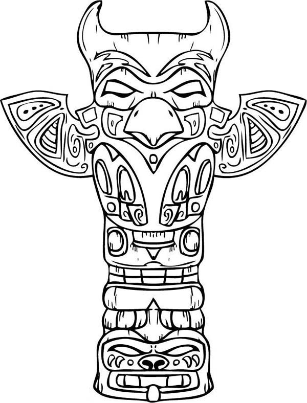 amazing sculptures of native american totem for native american day coloring page - Native American Coloring Pages