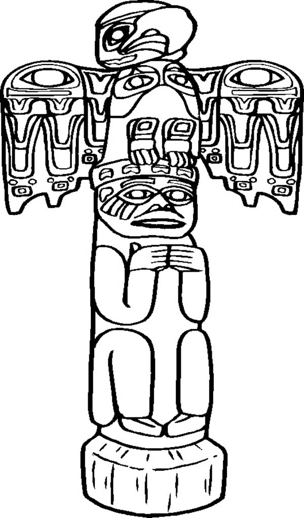 Native American Day, : Awesome Carved Native American Totem on Native American Day Coloring Page
