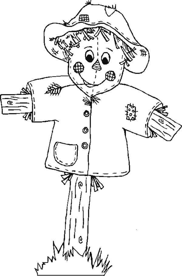 Autumn, : Cute Scarecrow in Autumn Season Coloring Page