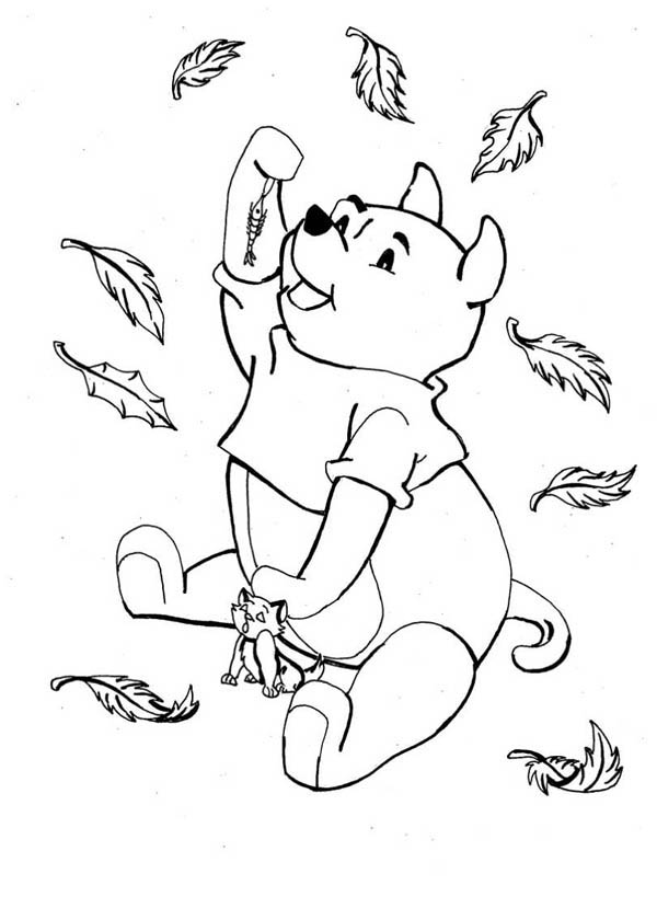Disney Winnie the Pooh Catching in Autumn Leaves Coloring Page