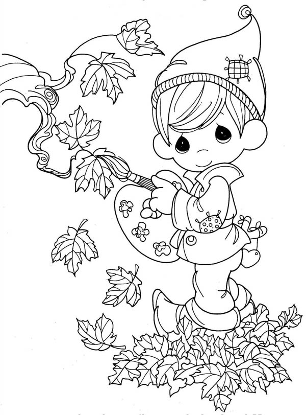 Autumn, : Fairy Boy in in Autumn Season Coloring Page