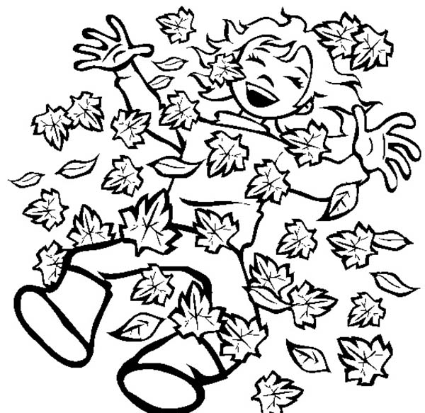 Autumn, : Happy Autumn with Autumn Leaf Coloring Page