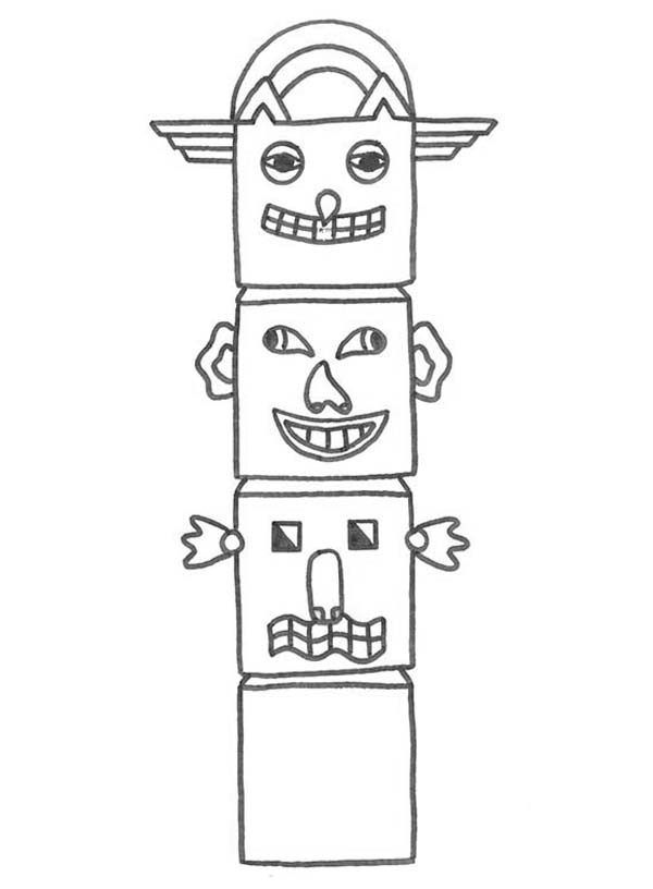 Native American Day, : Kids Drawing Native American Totem on Native American Day Coloring Page
