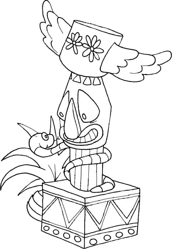 Native American Day, : Native American Totem Wrapped by Snake on Native American Day Coloring Page