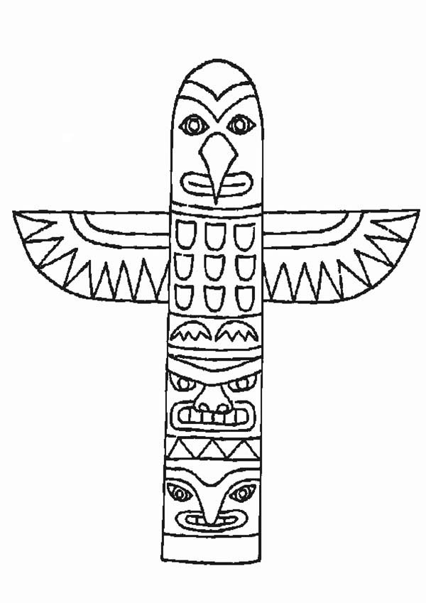 Native American Day, : Native American Totem from Thuja Plicata on Native American Day Coloring Page