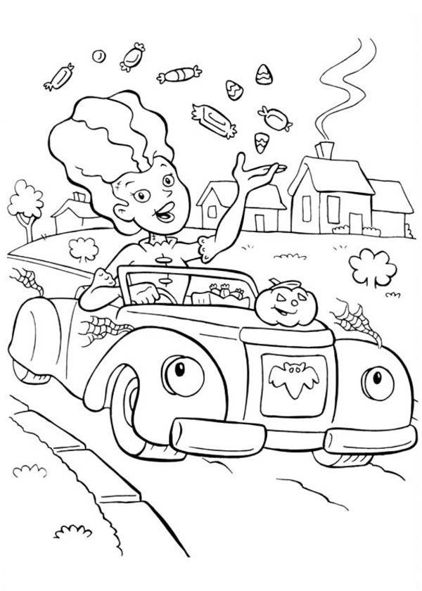 Halloween Day, : A Lady Throwing a Lot of Candy Treats on Halloween Day Coloring Page