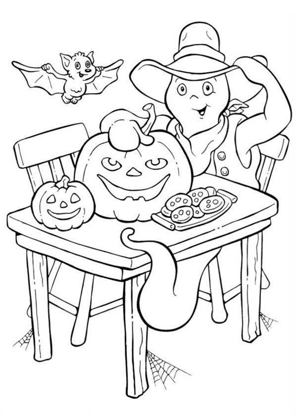 Halloween Day, : A White Ghost with Bat and Pumpkin Cookies on Halloween Day Coloring Page