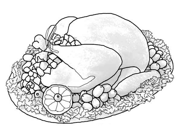 Canada Thanksgiving Day, : A Whole Turkey Sets of Canada Thanksgiving Day Dinner Menu Coloring Page