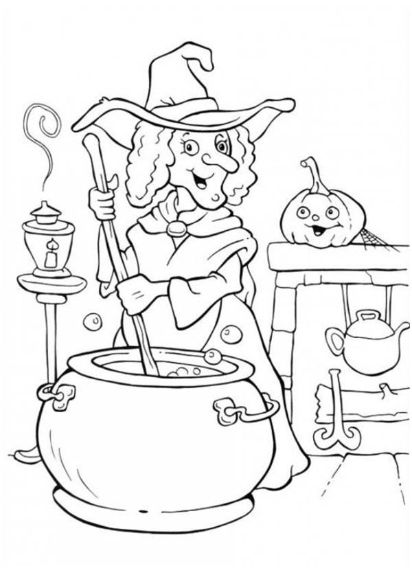 Halloween Day, : A Witch Making Potion on Halloween Day Coloring Page