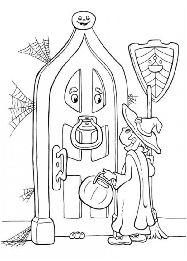 Halloween Day, : A Young Girl Knocking on Old Door House on Halloween Day Coloring Page