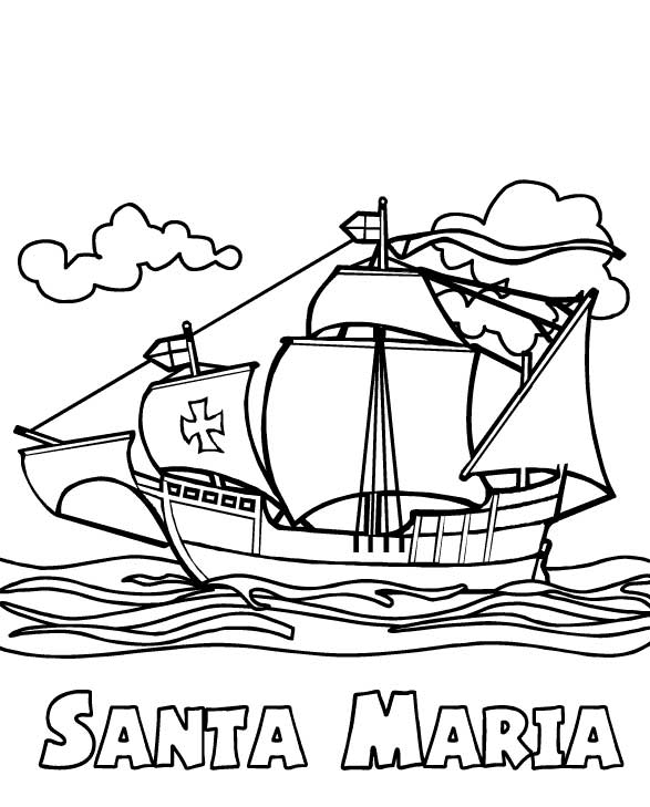 Pinta nina christopher columbus worksheets foto bugil for Columbus coloring page