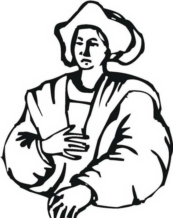 Columbus Day, : Columbus Half Body Figure On Columbus Day Coloring Page