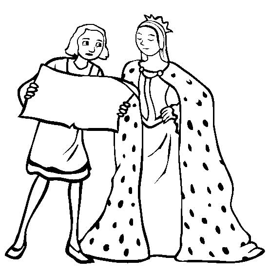 columbus with queen isabella on columbus day coloring page color