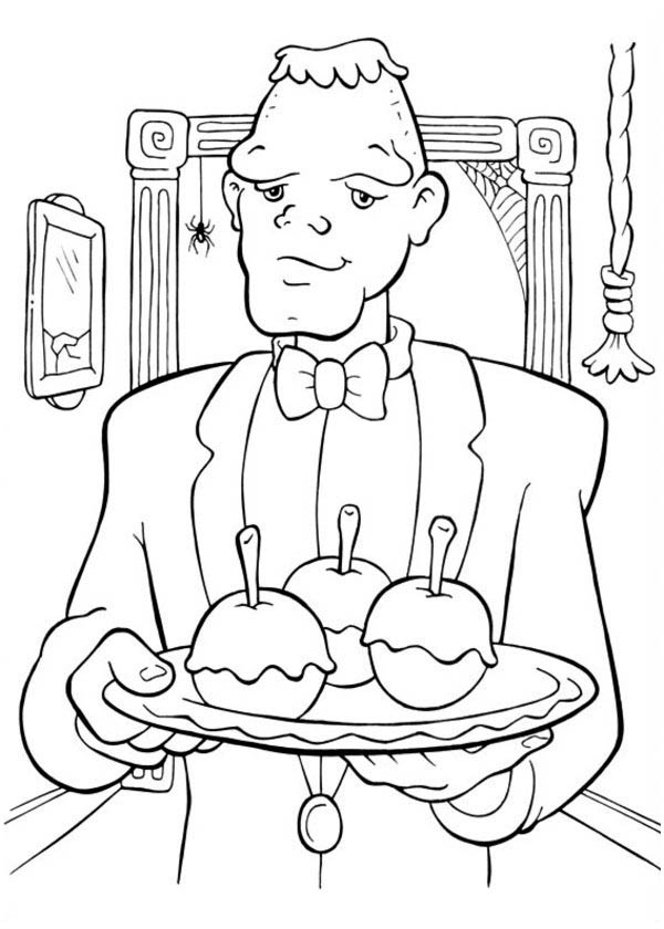 Halloween Day, : Creepy Frankenstein Servant on Halloween Day Coloring Page