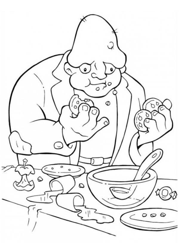 Halloween Day, : Creepy Monster Eating Cookies on Halloween Day Coloring Page