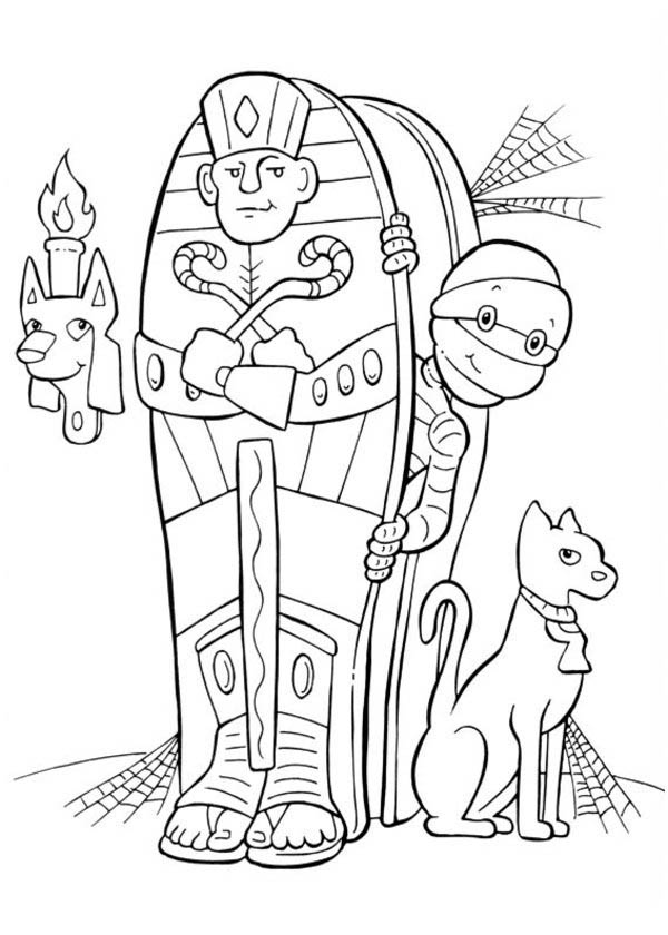 Egyptian Mummy And His Cat On Halloween Day Coloring Page