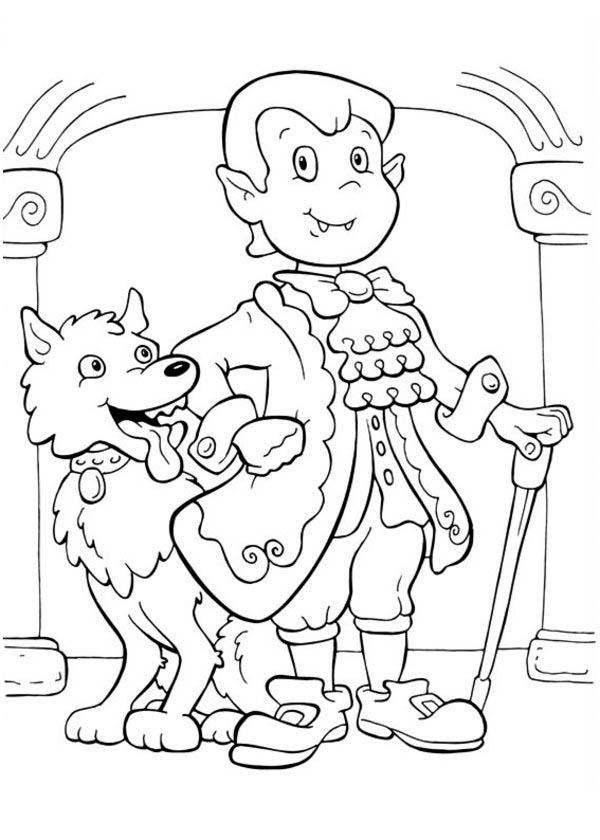 Elegant Count Dracula and Funny Werewolf on Halloween Day Coloring ...