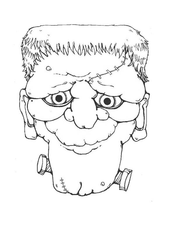 Halloween Day, : Mr Frankenstein Head on Halloween Day Coloring Page