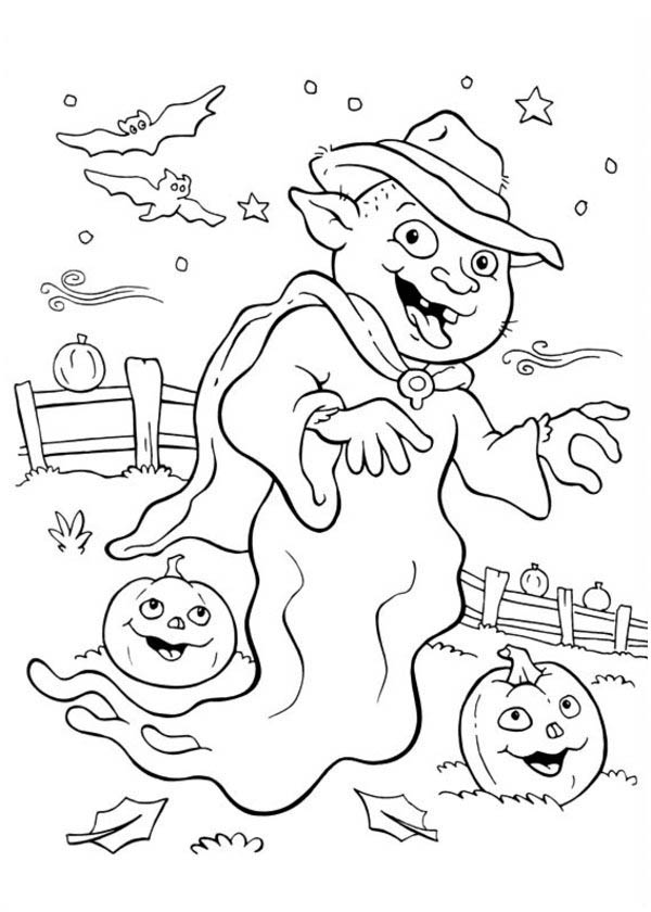 Halloween Day, : Wierd White Ghost on Halloween Day Coloring Page