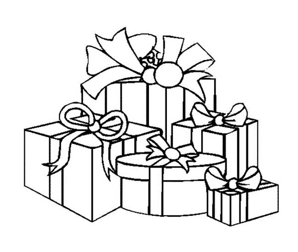 A packed of christmas presents on christmas coloring page for Coloring pages of christmas presents