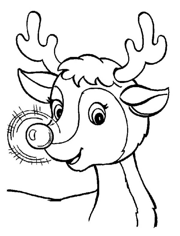 Ordinaire A Sweet Christmas Reindeer With Glowing Nose On Christmas Coloring Page