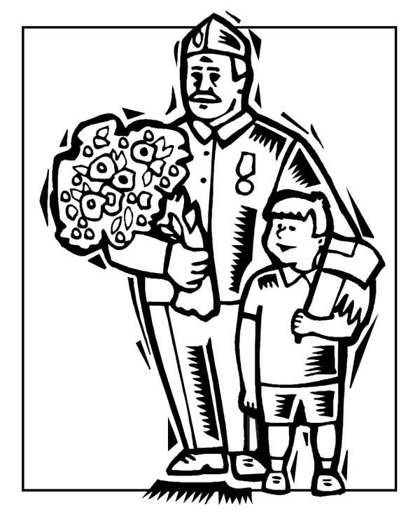 Veterans Day, : A Veteran and His Grandson Celebrating Veterans Day Coloring Page