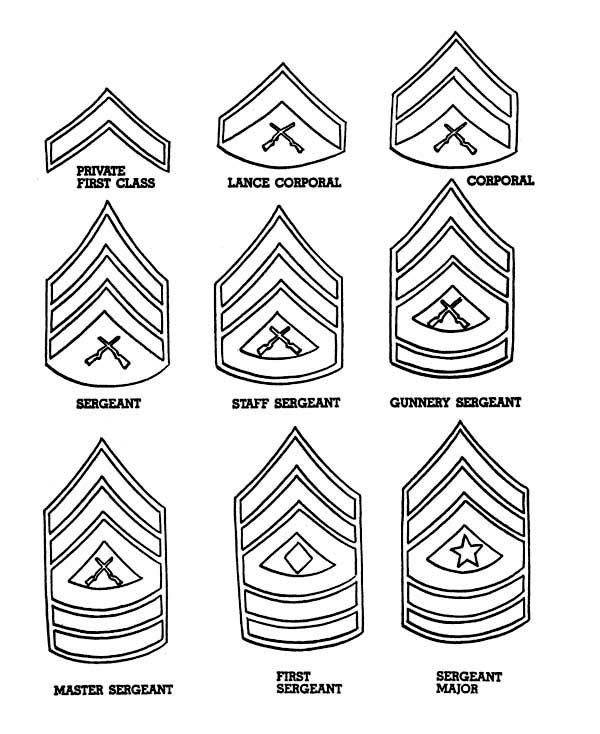 Veterans Day, : Celebrating Veterans Day with Enlisted Men Badges Coloring Page