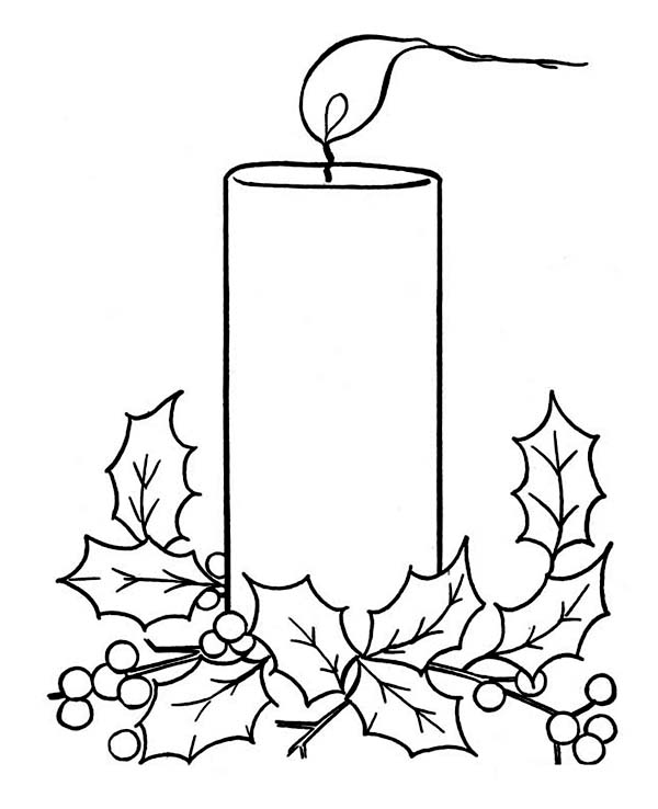 Christmas Candle on Light on Christmas Coloring Page  Color Luna