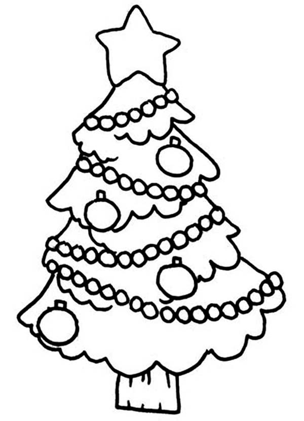 Christmas, : Christmas Tree Hanging Ornament on Christmas Coloring Page