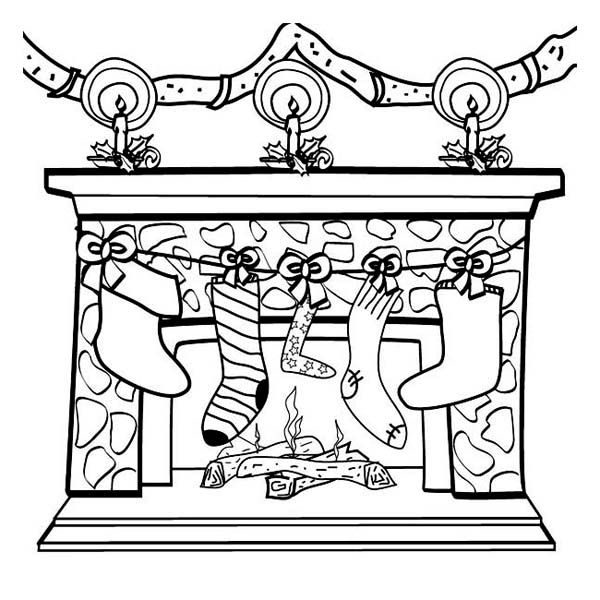 Four Christmas Stocking on the Fireplace on Christmas Coloring Page